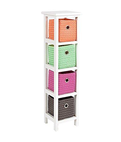 Kommode Schrank 80 cm Höhe Bad Regal Weiß mit 4 Körben in Orange Lila Grün Braun für Kinderzimmer Büro Bad Flur und Babyzimmer