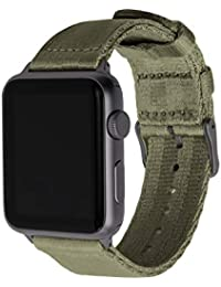 Seat Belt Nylon Watch Bands for Apple Watch (Olive, Space Gray, 42/44mm)