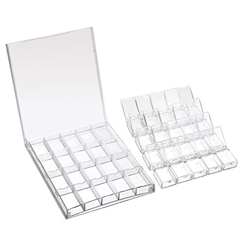 Stone Bead Acrylic - Hipiwe 20 Grids Diamond Painting Accessories Box, Clear Plastic 5D Nail Art Diamonds Earrings Beads Display Case Organizer Container for Necklace Jewellery Sewing Pills Storage