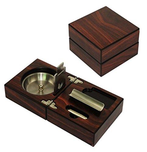 CiGuru CA-S006 Folding Wood Cigar Ashtray Set w/ Cutter - Color: Walnut