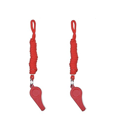 Giveet Coaches Referee Whistles with Lanyard, Red Plastic Whistle 2 Pack...
