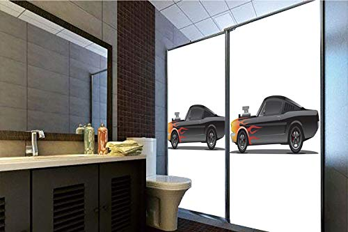 Privacy Window Film No Glue,Cars,Custom Design Muscle Car with Supercharger and Flames Roadster Retro Styled Decorative,Black Orange Red,70.86