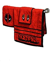 marvel deadpool 3 piece bath towel set - Red And Black Print Bath Towels