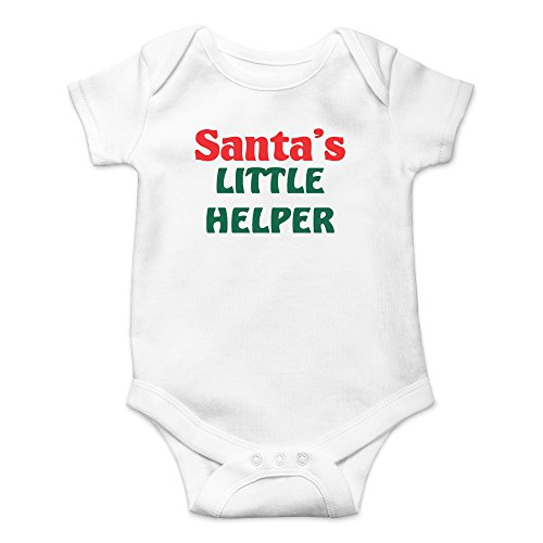 Crazy Bros Tee's Santa's Little Helper- Xmas Funny Cute Novelty Infant One-Piece Baby Bodysuit (Newborn, White)