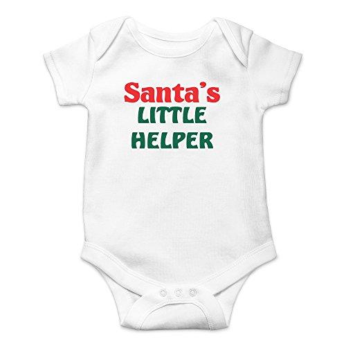 - Crazy Bros Tee's Santa's Little Helper- Xmas Funny Cute Novelty Infant One-Piece Baby Bodysuit (Newborn, White)