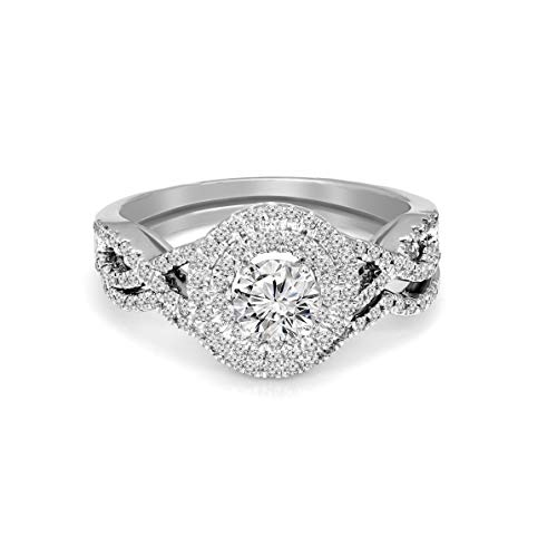 (100% Pure Diamond Rings 0.97ct Lab Grown Diamond Ring SI1-Clarity Round Cut Lab Created Diamond Halo Wedding Ring 925S Sterling Silver Real Diamond Ring (GH-Color))