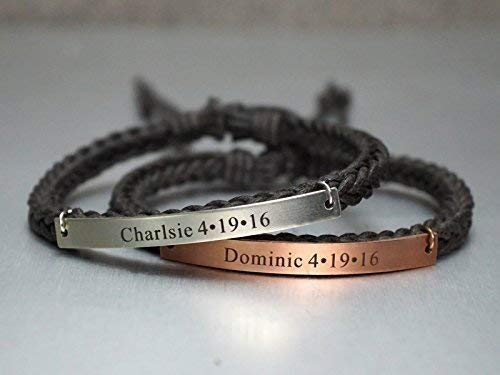 09dab9c63 Couple Custom Bracelets, His and Her Name Engraved, In Memory of  Anniversary Wedding Baby Birth Date, Grace Braided Cord Stainless Steel  Copper Combination