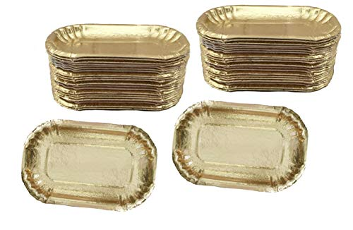 (Gold Foil Mini Dessert Plates - Heavyweight Rectangle - 5.25 x 3.5 Inches - 50 Pack)