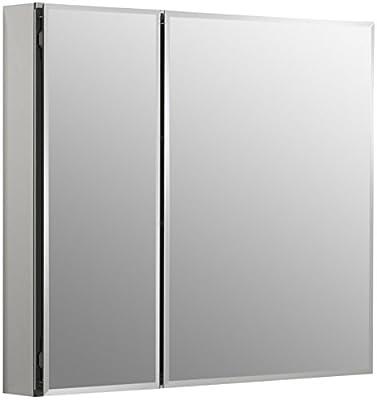 KOHLER K-CB-CLC3026FS Frameless Double Door 30 inch x 26 inch Aluminum Bathroom Medicine Cabinet; Recess or Surface Mount
