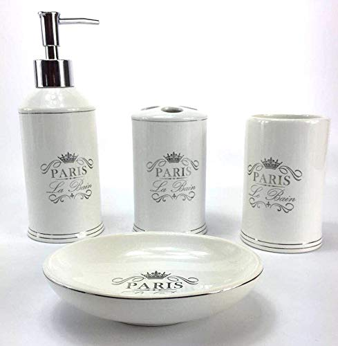 French Themed Accessories - WPM 4 Piece Bathroom Accessory Set.