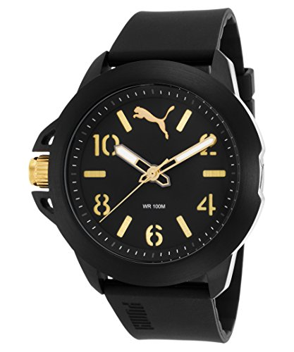 Be-Puma PU104181001be Men's Black Silicone Black Dial Gold-Tone Accents Watch