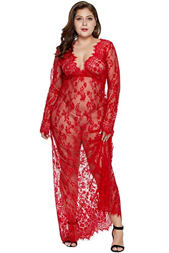 Women Plus Size Floral Lace Nightgown Long Lingerie Sleepwear Chemise Red XXXL (Red Sexy Lingerie Plus Size)