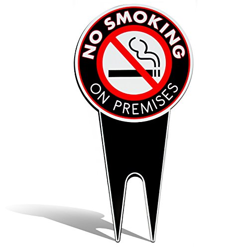 No Smoking Sign Yard Sign 7.5 X 15 Inches - Lawn Sign - All In One Easy Installation - Weather Resistant Metal - Highly Visible Reads No Smoking on Premises: (Property Sign Yard)