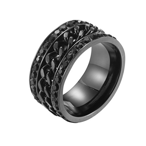 LANHI 11MM Mens Stainless Steel Two Row Cubic Zirconia Pave Central Chain Link Spinner Ring Wedding Band ()
