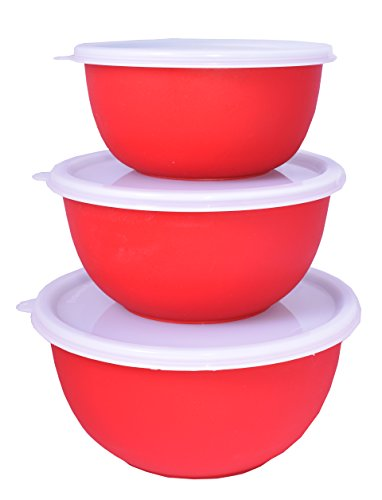 Cuissentials 3 Piece Red Stainless Steel Mixing Bowl Set with lids Storing & Serving