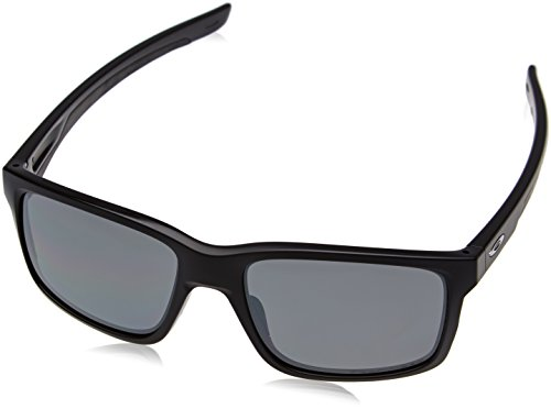 Oakley Men's Mainlink Polarized Iridium Rectangular Sunglasses, Matte Black w/Black Iridium Polarized, 57 mm by Oakley