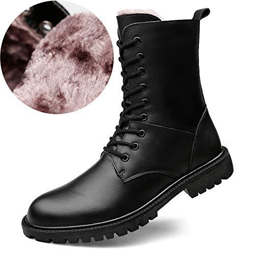 ZyuQ Herrenstiefel Winter Dicke warme Baumwolle Stiefel Leder Stiefel Martin Stiefel extra große Pu Lange Stiefel Herrenstiefel