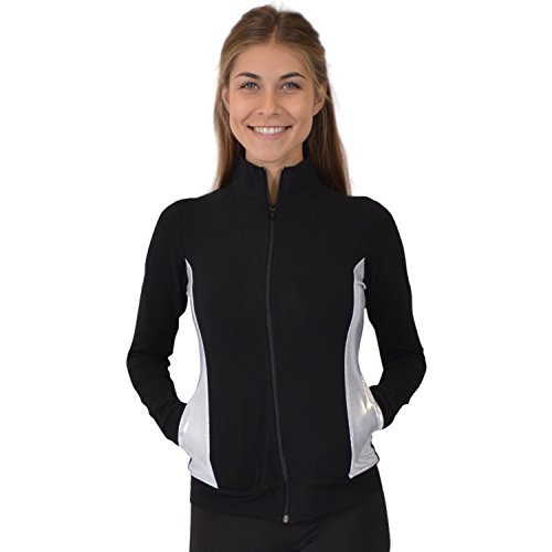 Stretch is Comfort Women's Cadet Warm Up Team Gymnastics Silver Slit Dance Jacket Black ()