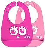 ZIZU BPA Free Waterproof Silicone Baby Bibs, Pink