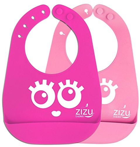 Price comparison product image ZIZU BPA Free Waterproof Silicone Baby Bibs,  Pink