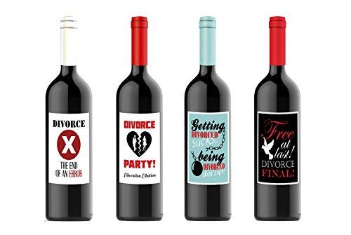 Divorce Party Celebration Custom Wine Labels for Four (4) Bottles 4.25 x 5.5 Each