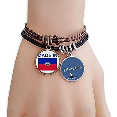YMNW Made Haiti Country Love Friendship Bracelet Leather Rope Wristband Couple Set Estimated Price -