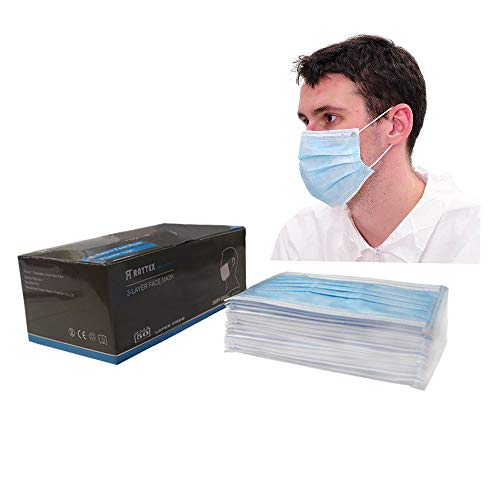 Raytex Dust Allergy Flu Masks-Nelson-Certified-50/bx 3-Ply Superior Disposable Latex Free Face Mask, Breathable and Comfortable with Premium Elastic Ear Loop for Medical Dental Surgical (Blue)