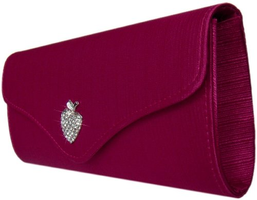 Satin Abendtasche, Clutch mit Strass,24x 6 cm,Pink