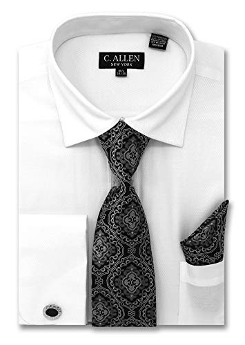 (C. Allen Men's Solid Micro Pattern Regular Fit Dress Shirts with Tie Hanky Cufflinks Combo White)