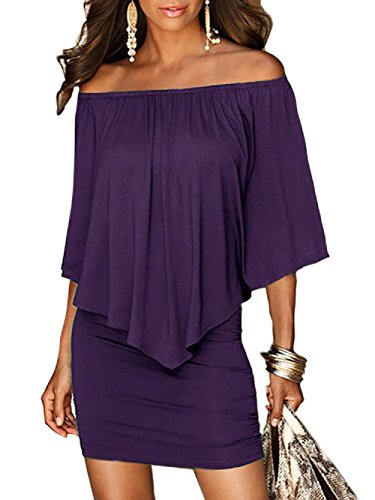 Lkous Womens Off Shoulder Ruffles Slim Bodycon Party Clubwear Sexy Bandage Dress S-XL (Purple Dress Clubwear)