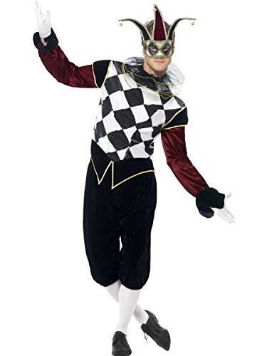 Mens Gothic Harlequin Court Jester Clown Medieval Carnival Halloween Fancy Dress Costume Outfit M-L (Medium) for $<!--$43.80-->