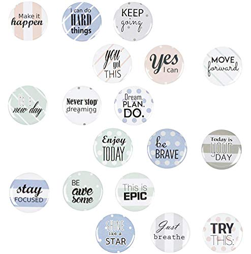 Locker Magnets - 18-Pack Motivational Magnets for Lockers or Fridge, Inspirational Magnets with Encouragement Quotes, For Office, Classroom, Students, Teachers, Teacher Gifts, 1.25 Inches in Diameter ()