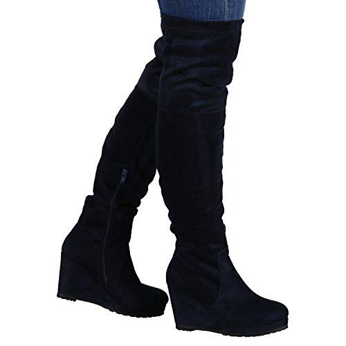 Stiefelparadies Gefütterte Damen Overknees Wedges Stiefel Schleifen Keil Absatz Flandell Dunkelblau Brito