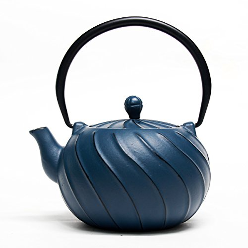 Tea Kettle, TOPTIER Japanese Cast Iron Teapot with Stainless Steel Infuser | Cast Iron Tea Kettle Stovetop Safe [Wave Design Teapot] Coated with Enameled Interior for 30 Ounce / 900 ml, Navy Blue