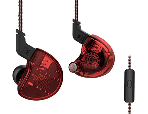 KZ ZS10 Hybrid 4 Balance Armature with Dynamic Units In ear Earphone 1DD+4BA 0.75mm 2pin Detachable Cable 5 Units OFC Cable 3.5mm Connector Stereo Noise Cancelling HIFI Sports NICEHCK (Red with mic) by KZ