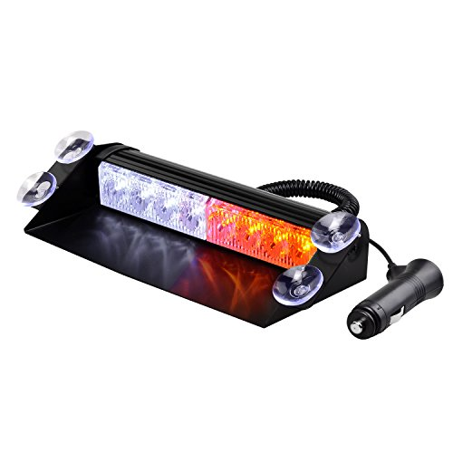 Strobelight Bar High Intensity 8 LED Windshield Emergency Warning Strobe Lights with Retractable Cable & 4 solid Sucker (White&Yellow)