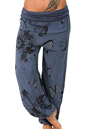 Loisirs Bleu Imprimer Papillon Occasionnels Huateng Foncé Yoga Fitness Femmes Pantalons 58Xn5Aq