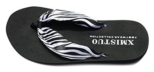 Pantofole Da Spiaggia Infradito Da Donna Moda Boho Flip Flop Infradito Sandali Con Tacco Wegde Nero 2
