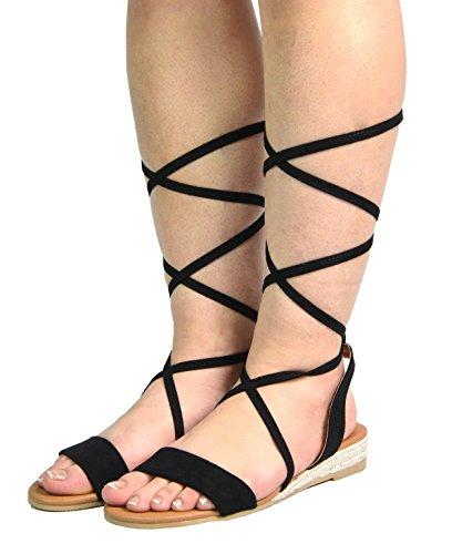 DREAM PAIRS Women's Formosa_3 Black Low Platform Wedges Mid Calf Tie Up Sandals Size 11 B(M) US