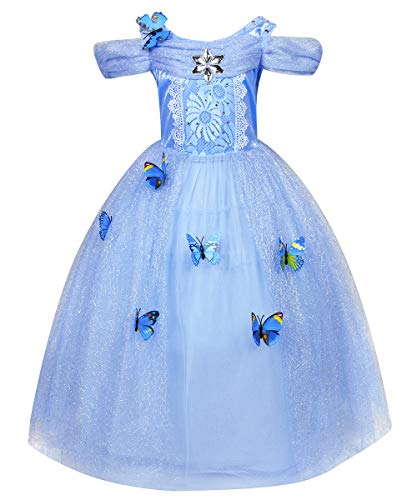 LENSEN Tech Little Girl Princess Cinderella Costume Butterfly Cosplay Blue Dress (Blue, 8-9 Years)]()
