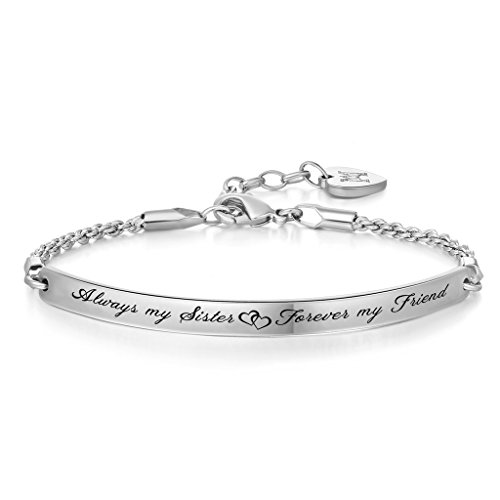 "Annamate Engraved Message ""Always my Sister, Forever my Friend"" Inspirational Quote Bar Bracelet, Women Jewelry, Friendship Gift, Sister Gift"