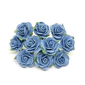 2cm Blue Paper Flowers Paper Rose Artificial Flowers Fake Flowers Artificial Roses Paper Craft Flowers Paper Rose Flower Mulberry Paper Flowers, 25 Pieces 22