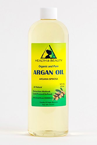 Argan Oil Organic Moroccan Marrakesh Hair Oil by H&B OILS CENTER Cold Pressed 100% Pure 16 oz