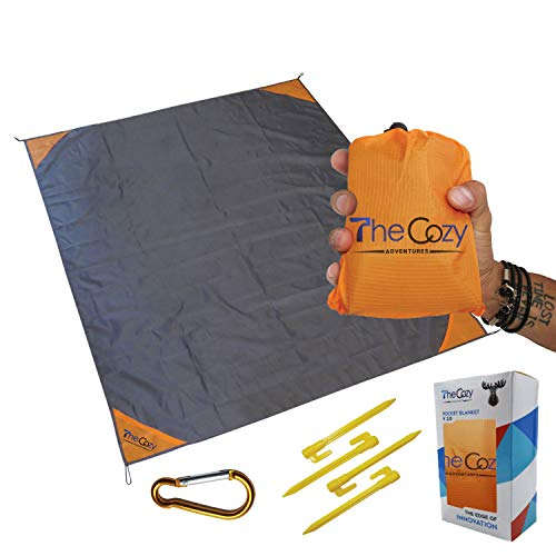 Waterproof Pocket Blanket, 70x55 in. – Sand & Dirt-Proof with Stakes, Carabiner, Case – Compact Travel Beach Mat for Picnics, Camping, Concerts – Durable, Soft, & Fast-Drying