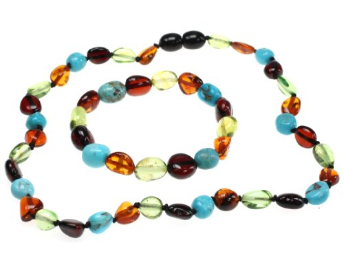 (Amberbeata Certified Genuine Baltic Sea Amber and Turquoise Teething Set (Necklace and Bracelet) for Teethers (Turquoise))