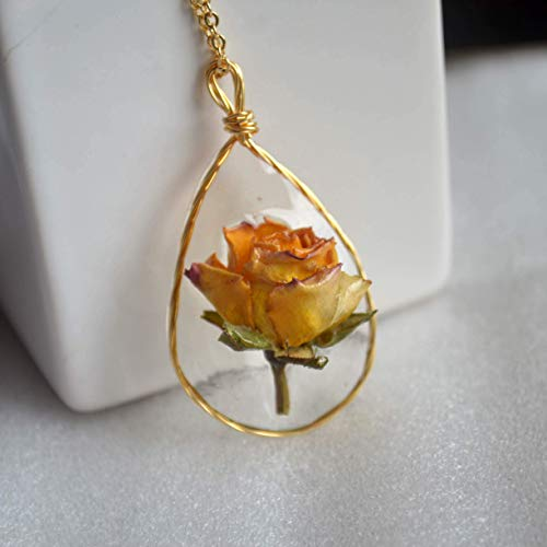 Yellow Rose Real Flower Waterdrop Resin Wire Wrapped Pendant 18k Gold Plated Long Necklace