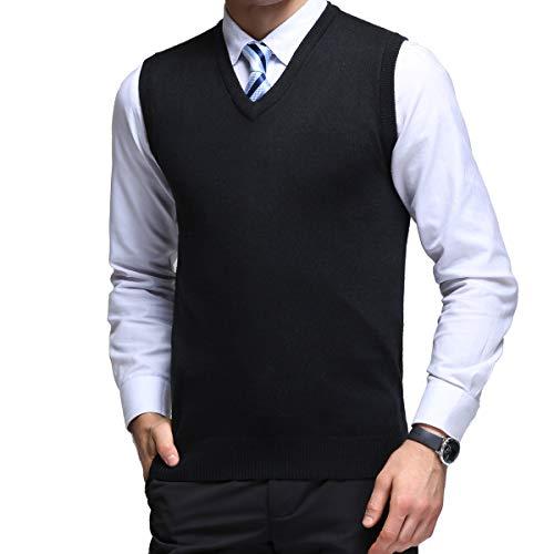 Noir Homme Cardigan Manches Avec V Encolure En Automne Sans Pull Veste Wool Yinq Maille Gilet Pour xZIdaqUURw