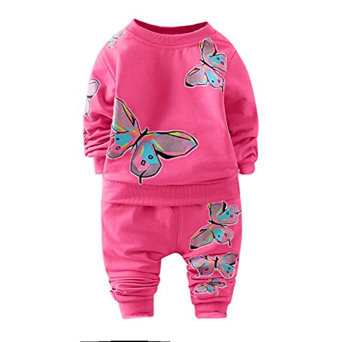 - Morecome Toddler Kid Baby Boy Girl Clothes Long Sleeve Butterfly Printed T-Shirt+Pants Tracksuit Outfit Two-Piece Suit