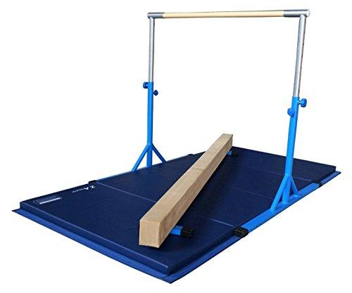 Z Athletic Expandable Kip Bar for Gymnastics, 4ft x 8ft x 2in Mat, Ground Balance Beam Set