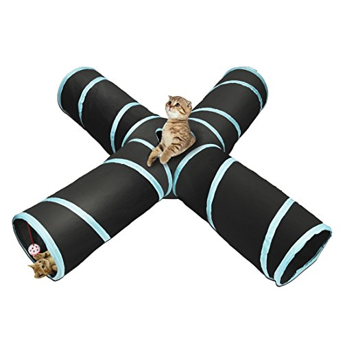 Iq Tunnel Bag (Cat Tunnel Pet Toy Tunnel 4 Way Collapsible Cat Tube Crinkle Pop up Tunnel Set Pet Toys)